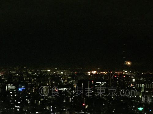丸ビルレストラン「オザミトーキョー」から見えるディズニーランドの花火2