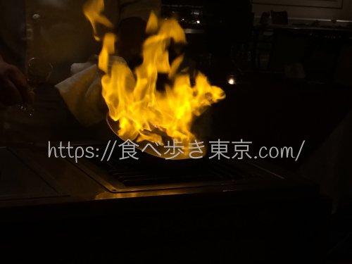 東京ベイ舞浜「カーニバル」で食べたコース料理のときにしてくれたフランベ