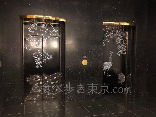 ホテル雅叙園東京の螺鈿細工のエレベーター